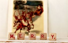 Wish everyone a M E R R Y season with these vintage game pieces.  Put them in an unexpected place to make everyone smile. Vintage Letter Cubes MERRY Christmas by hilltopcottage on Etsy