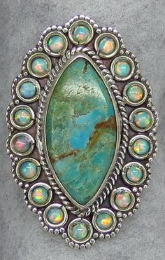Don't you wish this was in your size?  (I know I do!)  (It's not sizeable.)  Arizona Turquoise and Lab Opal Ring - Sterling Silver - Size 9