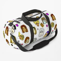 "Internal zipper pocket, external mesh pocket, and removable, adjustable padded shoulder strap Choose small (19.5"" x 9.5"" x 9.5"" / 49 x 24 x 24 cm) or large (23"" x 12"" x 12"" / 58 x 30 x 30 cm) Durable 100% polyester with vivid sublimation print Work Travel, Duffel Bag, Baggage, Chiffon Tops, Print Design, Shoulder Strap, Mesh, Colorful, Zipper"