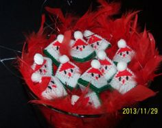 """Santa hecho a mano adorno / etiqueta del regalo """"Apretar mis mejillas"""" w/candy KISS! Lona plástica"""