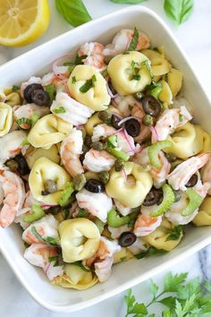 This delicious, light shrimp and tortellini salad can be served as a side or main dish, perfect for summer potlucks or pool parties, or anytime you need a pasta salad that isn't weighed down with heavy mayo.