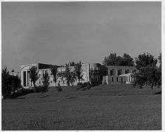 Photograph of the exterior of the Administration Building at Iowa School for the Deaf, Council Bluffs (Iowa). ca. 1950. Photograph by Irwin R. Garden.