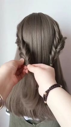 --Video Pin-- Hairstyle For Girls Easy Hairstyles For Long Hair, Girl Hairstyles, Braided Hairstyles, Korean Hairstyles, Korean Hairstyle Long, Ulzzang Hairstyle, Japanese Hairstyles, Korean Short Hair, Korean Medium Hair