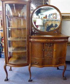 Antique-Etegere-w-6-Shelves-Serpentine-Chest-w-Mirror-Orig-Glass-Hdware-67-034-T1915