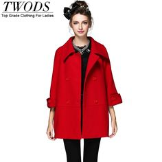 S- 5xl European Style Oversize Wool Coat  Double Breasted 3/4 Sleeve Red Navy Blue Loose Long Winter Woolen Outwear