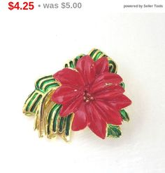 ON SALE! Poinsetta Christmas Brooch, Vintage Holiday Pin, Flower Brooch, Goldtone Coat Pin, Jacket Pin