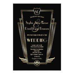 Royal Gold Art Deco Monogram Black Wedding Invite - elegant wedding gifts diy accessories ideas