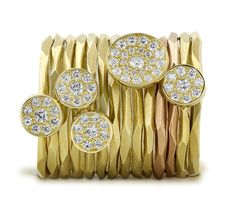 Pave rings in yellow gold from Ron Hami