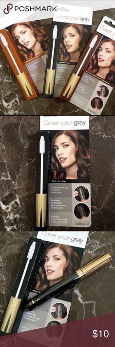 Cover Your Gray | Black NEW Cover Your Gray Hair Mascura  •instant touch up to cover your gray • brush on, wash -n- go   Directions: For short hair - dab on using short strokes.  For long hair - hold a section of hair and apply from root to end. After applying color, brush through to even out finish. Temporary hair color. Shampoo normally to wash out.  Brand: Irene Gari Cosmetics  Color: Black Makeup Mascara