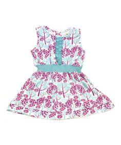 Purple Spring Tree Organic Ruffle Dress