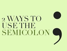 Use a semicolon to separate two independent clauses. Or, use it to separate items in a list when those items include commas.