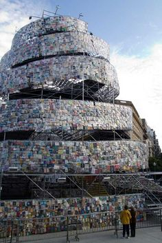 """""""Tower of Babel"""" by Marta Minujin, 2011, Saint-Martin Place, Buenos Aires, installation consists of 30,000 BOOKS."""