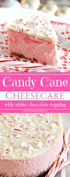 Candy Cane Cheesecake with a White Chocolate Topping