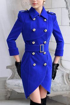 Double Breasted Irregular Cutout Coat