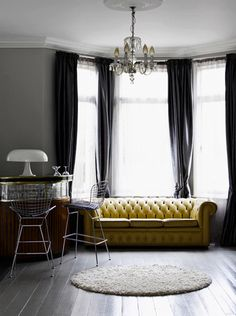 grey walls and mustard chesterfield Curtains For Grey Walls, Colorful Curtains, Gray Walls, Long Curtains, Velvet Curtains, Unique Curtains, My Living Room, Home And Living, Living Spaces