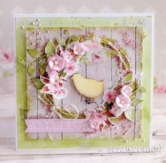 kartka_recznierobiona_wielkanoc_kurczaczek Homemade Modern, Shabby Chic Cards, Easter Card, Card Making Inspiration, Love Cards, Easter Crafts, Easter Eggs, Diy And Crafts, Floral Wreath