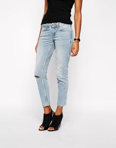 Image 1 ofRiver Island Eva Light Wash Girlfriend Jean With Busted Knee