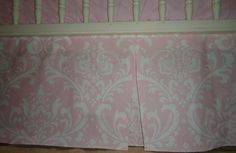 Damask Baby Pink and White Crib Skirt Tailored, Baby Girl, 4 sides. Osborne Designer.