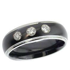 Fine Black Zirconium Ring With Dome Profile Triple Diamond Set