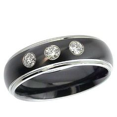 Fine Black Zirconium Ring With Dome Profile Triple Diamond Set