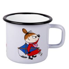 White enamel mug featuring Little My in red coloring. Brighten your coffee- and teamoments with this mug. Muurla combines design with durability in this retro Moomin enamel mug.