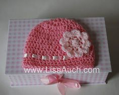 Free Crochet Patterns and Designs by LisaAuch: Free EASY Crochet Baby Hat Pattern with Crochet Flower (How TO Crochet a Hat)