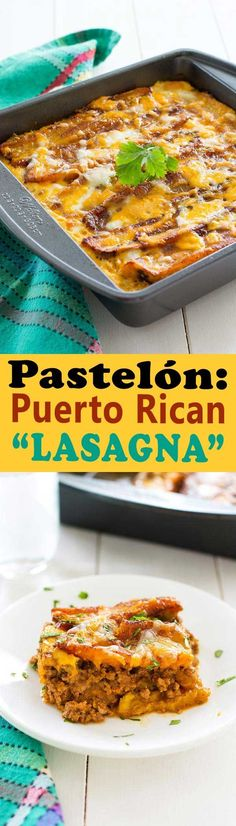 Rican Lasagna (Pastelón) with sweet slices of plantains instead of noodles, saucy beef picadillo and plenty of cheese.Puerto Rican Lasagna (Pastelón) with sweet slices of plantains instead of noodles, saucy beef picadillo and plenty of cheese. Puerto Rican Lasagna, Puerto Rican Dishes, Puerto Rican Cuisine, Puerto Rican Recipes, Mexican Food Recipes, Beef Recipes, Dinner Recipes, Cooking Recipes, Healthy Recipes