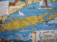 Fabulous Long Island Souvenir Linen Kitchen by nanaluluslinens Island Map, Fire Island, Long Island Ny, Port Jefferson, Pirate Treasure Maps, I Love Ny, Island Girl, City Maps, Map Art