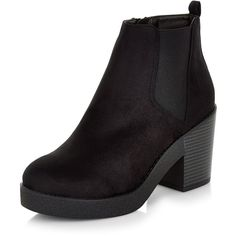 d7f1a7a4662 New Look Wide Fit Black Suedette Block Heel Ankle Boots ( 36) ❤ liked on