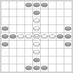 Initial layout of the game of tablut.