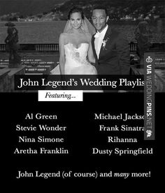 John Legend& wedding playlist could be the ultimate R n& B & Soul wedding playlist! Featuring songs by Aretha Franklin, Stevie Wonder and many more! Wedding Dinner Music, Wedding Dj, Wedding Trends, Wedding Reception, Dream Wedding, Wedding Shot, Budget Wedding, Wedding Ideas, Wedding Stuff