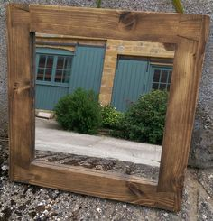 handmade available on Etsy UK #rustic #square #mirror with #eco-friendly #solid #wood #frame available to buy on #Etsy #UK prices from £38, designed by Marc and #handmade by our small team at #MarcWoodJoinery #Somerset #UK #custom sizes on request. #design #country #green #traditional #bedroom #home #living #slow #artisan #style #eco #rustic #industrial  #interiordesign #pale #chunky #grain #knots #house #dining #hall #bathroom #cottage #farmhouse #wooden #ideas '#decor  #gifts #shop