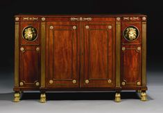 Regency ormolu-mounted and brass inlaid mahogany breakfront side cabinet, circa 1810, in the manner of George Smith