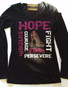 Breast cancer shirt for breast cancer awareness month. Love the glitter and bling!!  Gorgeous shirt!! https://www.etsy.com/listing/251218853/breast-cancer-ribbon-hope-fight-strength