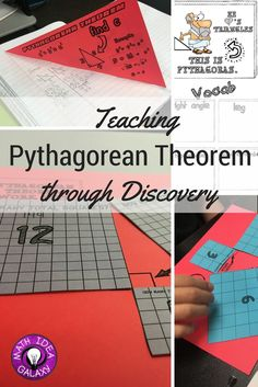 Getting students to understand the Pythagorean Theorem through discovery learning. Great lesson to introduce geometry unit of Pythagorean Theorem. Read about how I used it with my grade students. Math Teacher, Math Classroom, Teaching Math, Teacher Stuff, Teaching Ideas, Future Classroom, Classroom Organization, Classroom Management, Geometry Activities