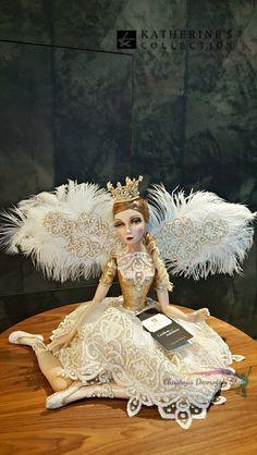 Katherine's Collection Christmas 2016 Royal White Christmas Doll Display.