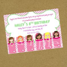 Sleepover Slumber Party  Birthday Invitation  (2B) by PokeysPrettyParties on Etsy https://www.etsy.com/listing/189120448/sleepover-slumber-party-birthday