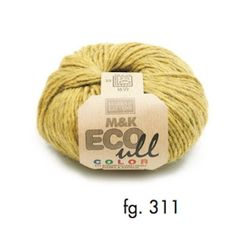 M&K Eco-Ull Color 311, yellow-green, eco-yarn, wool and Merino, 10-12 ply, 50g