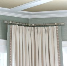 Drapery Hardware Fit To A Corner In A Bay | Corner Bend Hardware |  Stationary Panels
