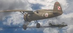 """""""czwórka"""" ze 111 Eskadry Myśliwskiej wchodzącej w skład Brygady Pościgowej vs bf 109D z JG 21. autor: Wojciech Niewęgłowski"""