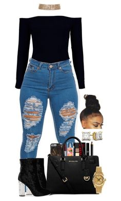 A fashion look from March 2017 featuring Boohoo, MICHAEL Michael Kors handbags and Rolex watches. Browse and shop related looks. Cute Swag Outfits, Dope Outfits, Trendy Outfits, Winter Outfits, Summer Outfits, Baddie Outfits Casual, Winter Clothes, Teen Fashion Outfits, Outfits For Teens