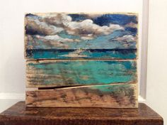 Reclaimed Wood Ocean Painting Shabby Chic Wall Art by ReSparked