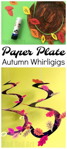 Autumn Tree Paper Plate Whirligig! A gorgeous fall craft for kids to make! #kidscrafts #leafcrafts
