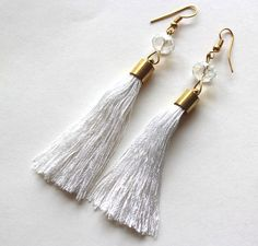 Tassle earrings white thread and bead dangle by Bunnys on Etsy, $20.00