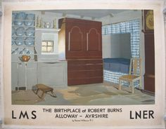 The Birthplace of Robert Burns - Alloway - Ayrshire, by Norman Wilkinson. The interior of the humble cottage in which the famous Scottish poet Robert Burns was born on 25 January 1759. It is a simple two-roomed clay and thatch cottage and has been fully restored to become part of the Robert Burns Birthplace Museum. Original Vintage Railway Poster available on originalrailwayposters.co.uk