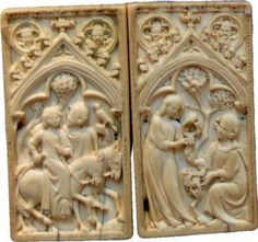 Outside cover for medieval wax tablets. Carved ivory.