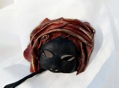 Moorish mask moor of venice red black leather by MaschereFabula