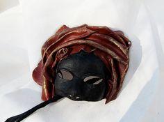 Moorish mask moor of venice red black leather by MaschereFabula