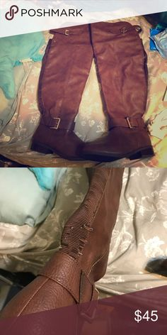 Torrid Over the knee boots Over the knee wide calf brown boots good condition worn 3 times, minor elastic showing Shoes Over the Knee Boots