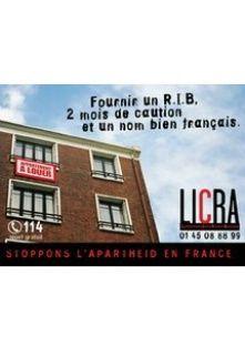"""Fournir un RIB... et un nom bien français - LICRA """"Provide your financial information... and a convincing French last name."""""""